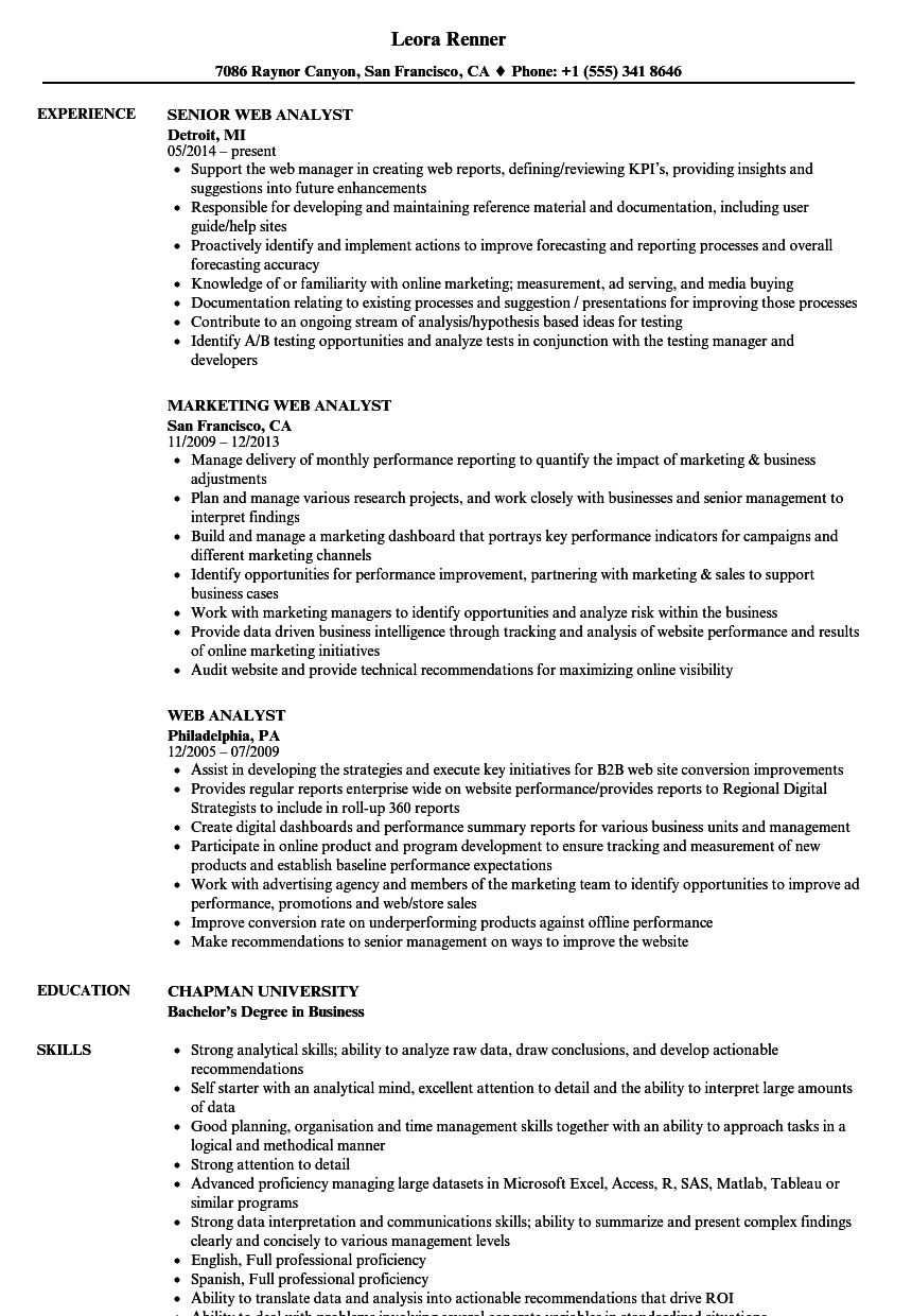 web analyst resume samples velvet jobs