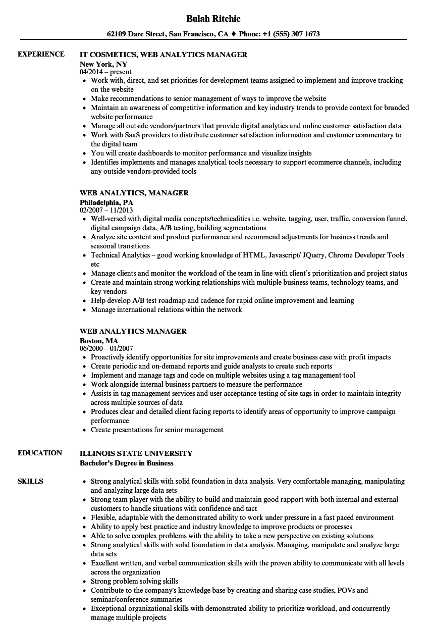 Web Analytics Manager Resume Samples | Velvet Jobs