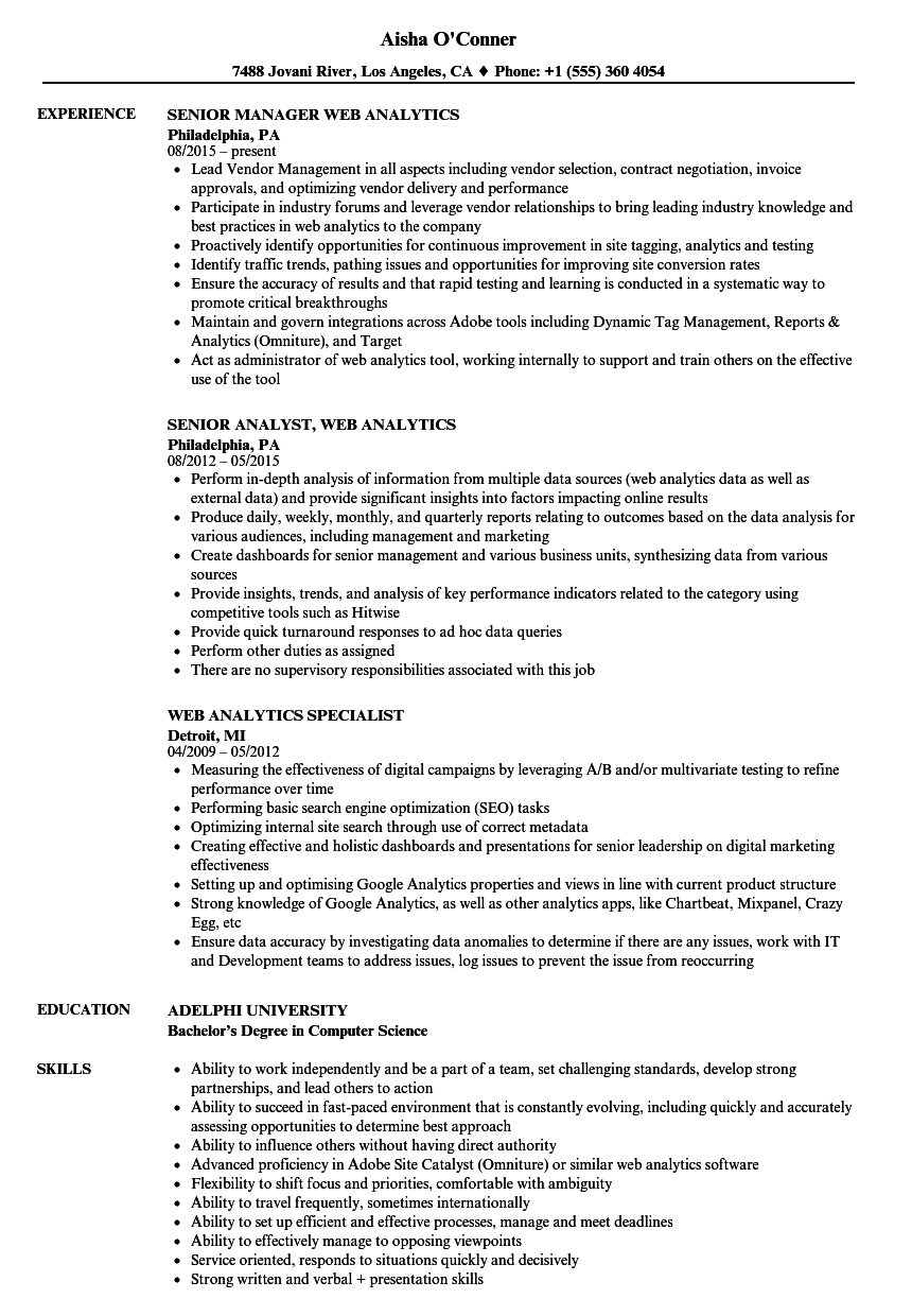 Web Analytics Resume Samples | Velvet Jobs