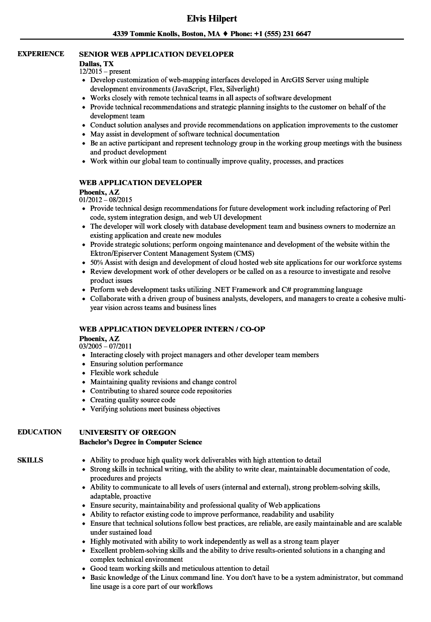Web Application Developer Resume Samples | Velvet Jobs