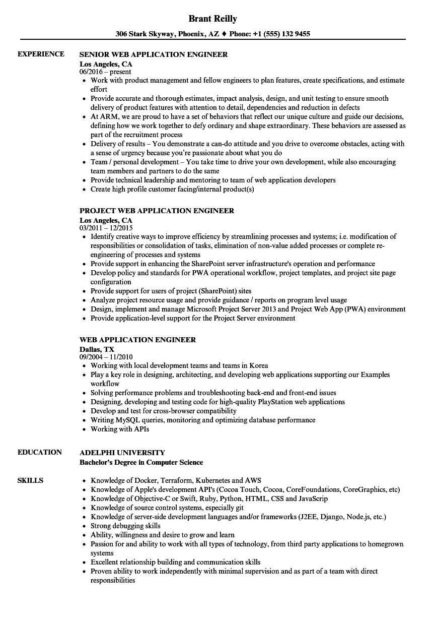 Web Application Engineer Resume Samples | Velvet Jobs
