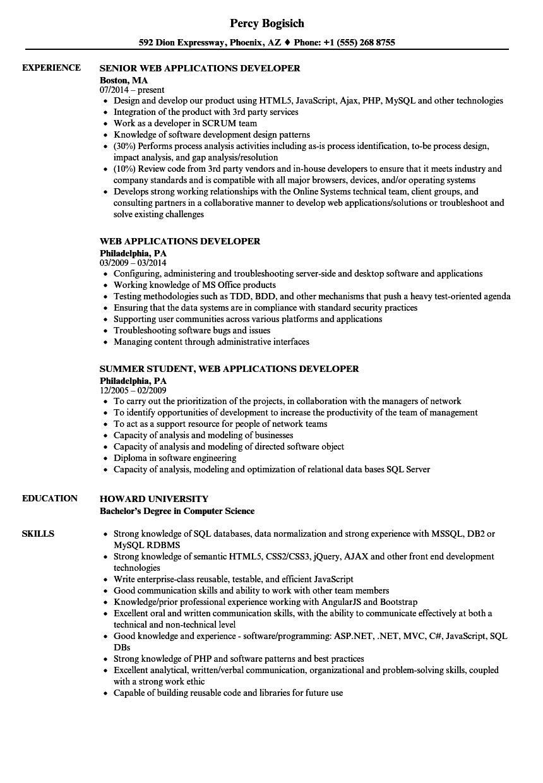 web applications developer resume samples
