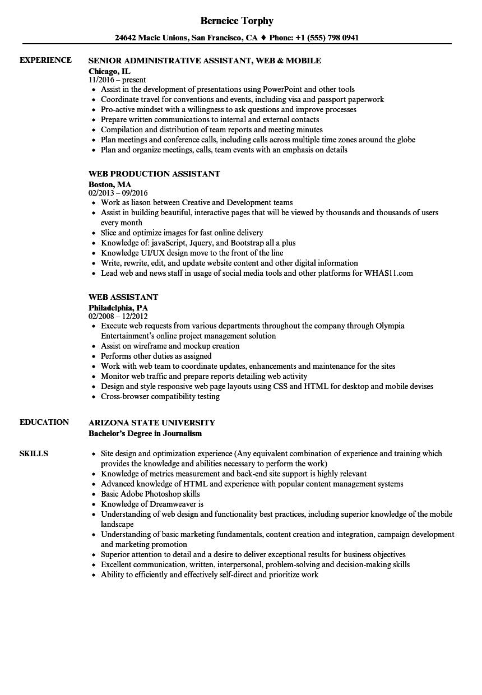 web assistant resume samples