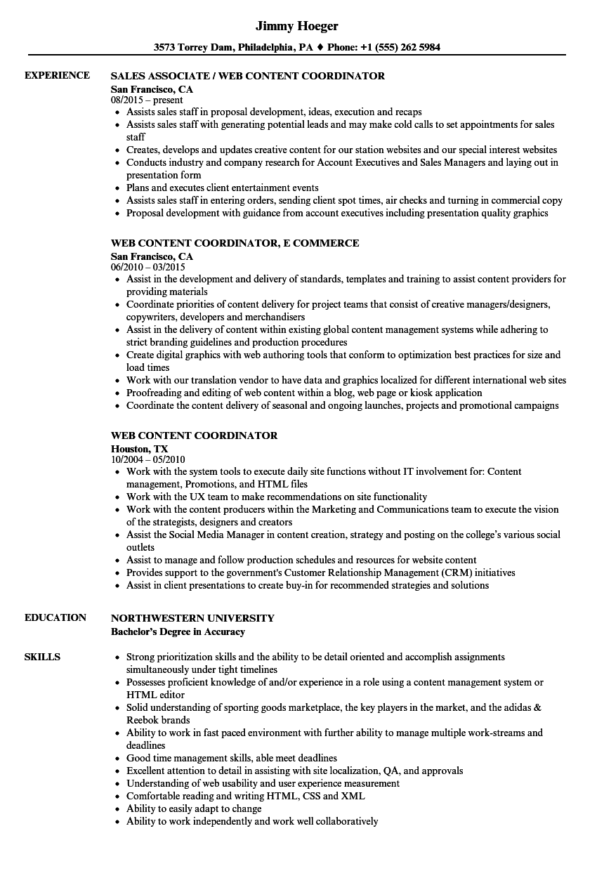web content coordinator resume samples