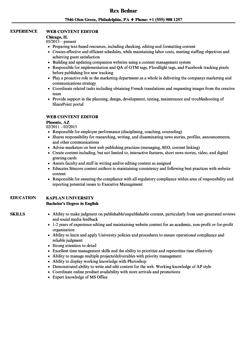 web content editor resume samples