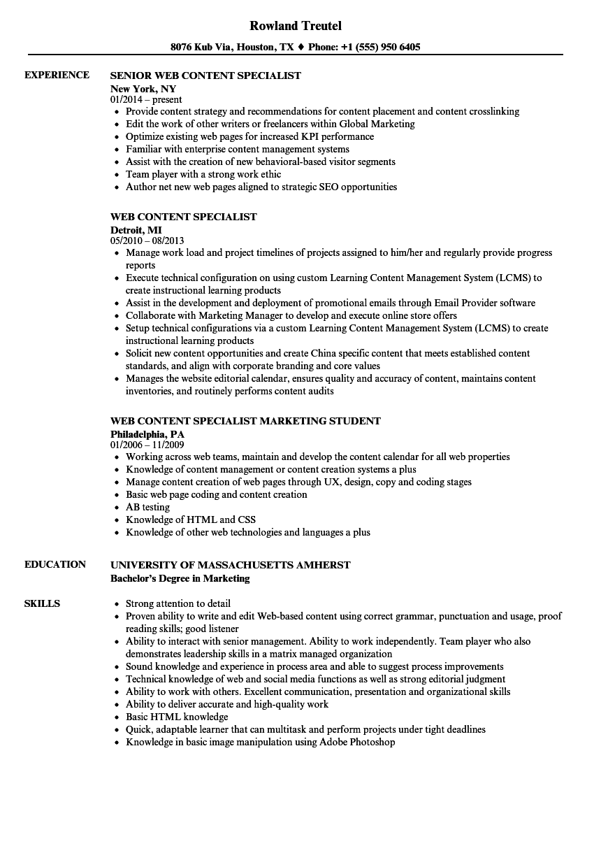 Web Content Specialist Resume Samples | Velvet Jobs