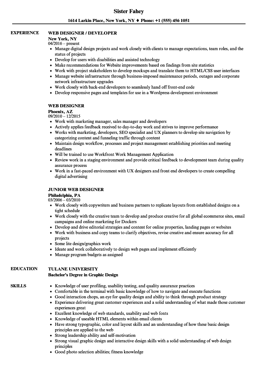 Velvet Jobs  Web Designer Resume Sample