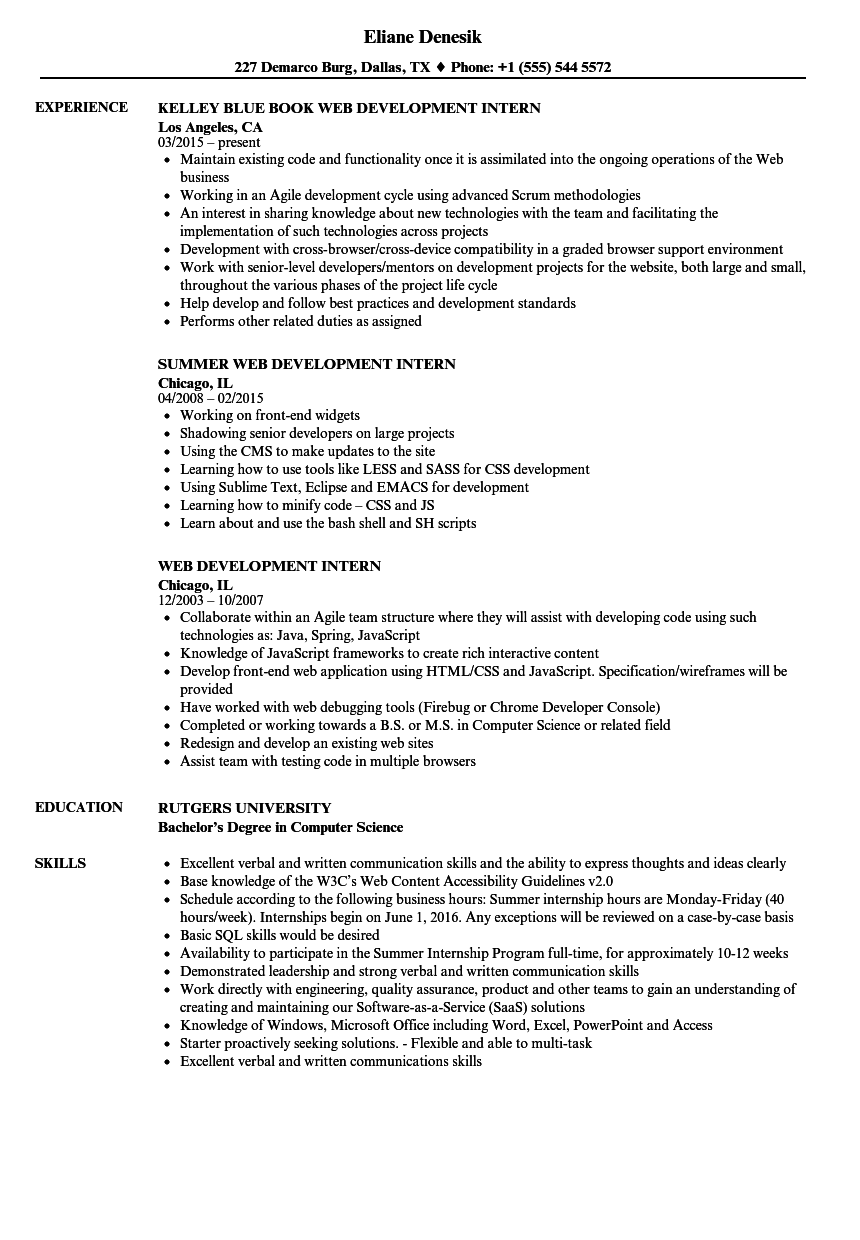 web development intern resume samples velvet jobs