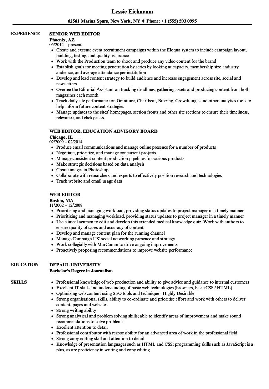 web editor resume samples