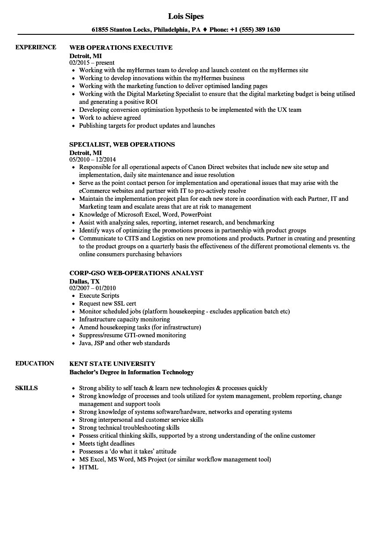 web operations resume samples
