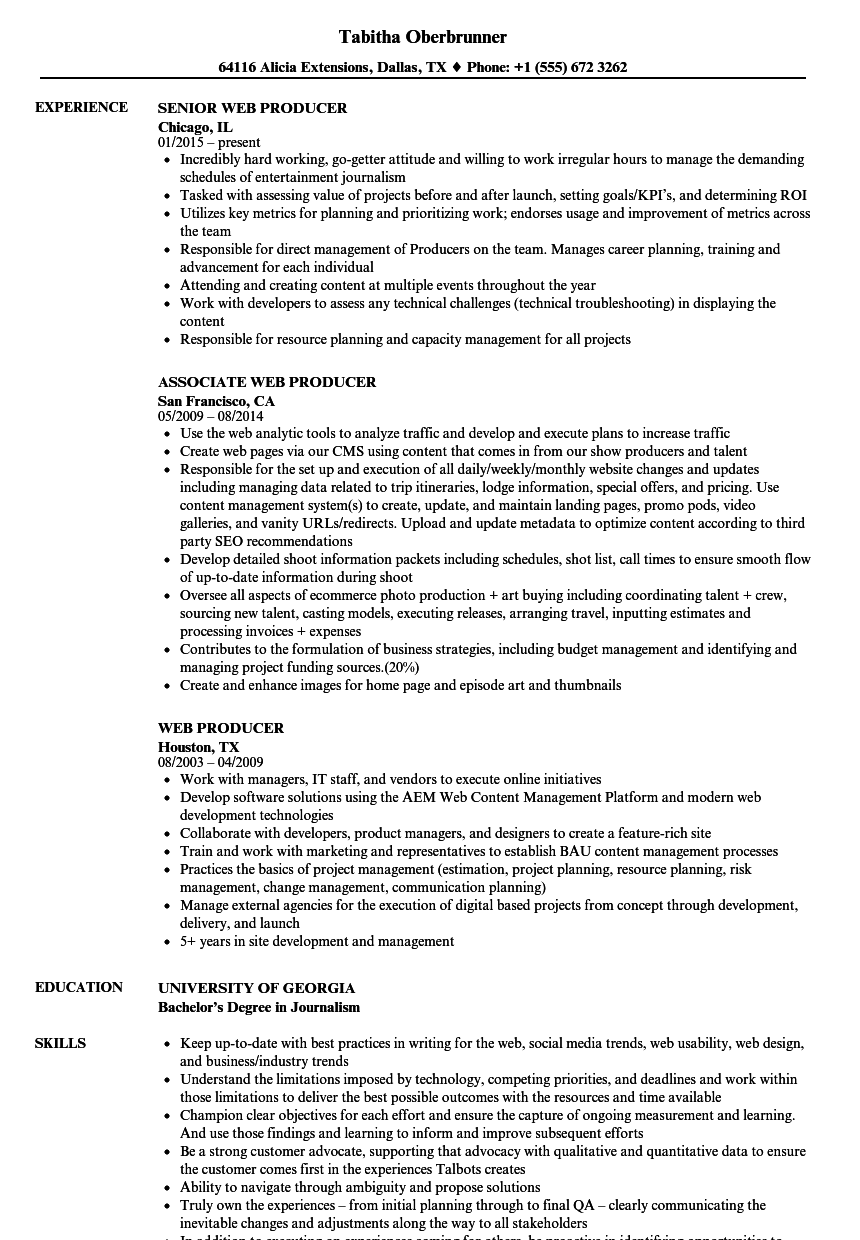 download web producer resume sample as image file - Web Producer Resume
