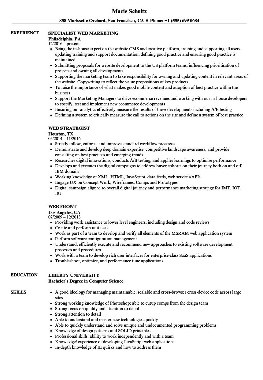 web resume samples