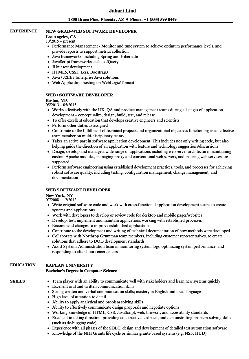 Web Software Developer Resume Samples Velvet Jobs