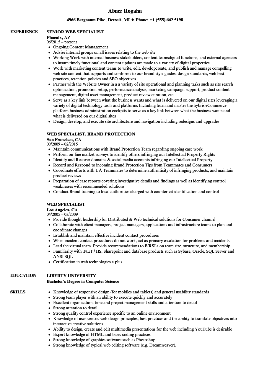 Download Web Specialist Resume Sample As Image File