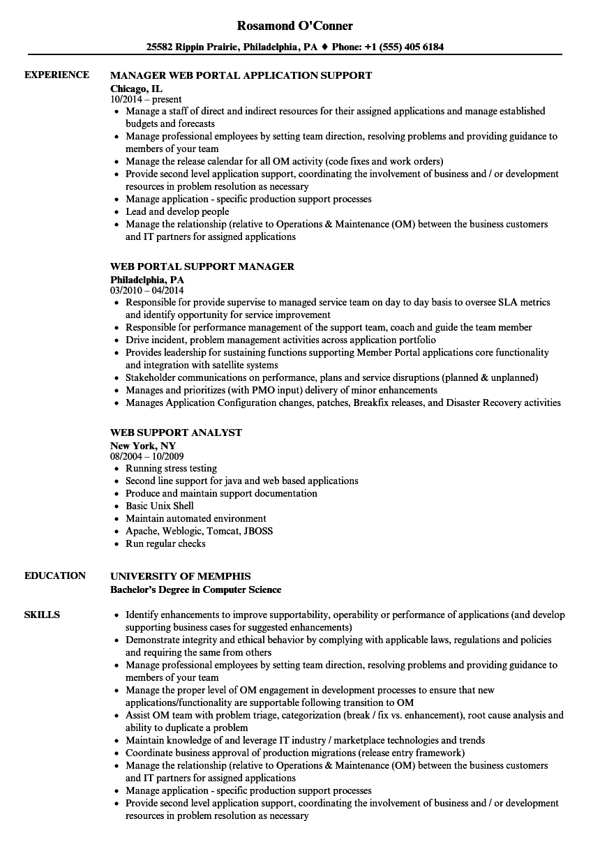 web support resume samples