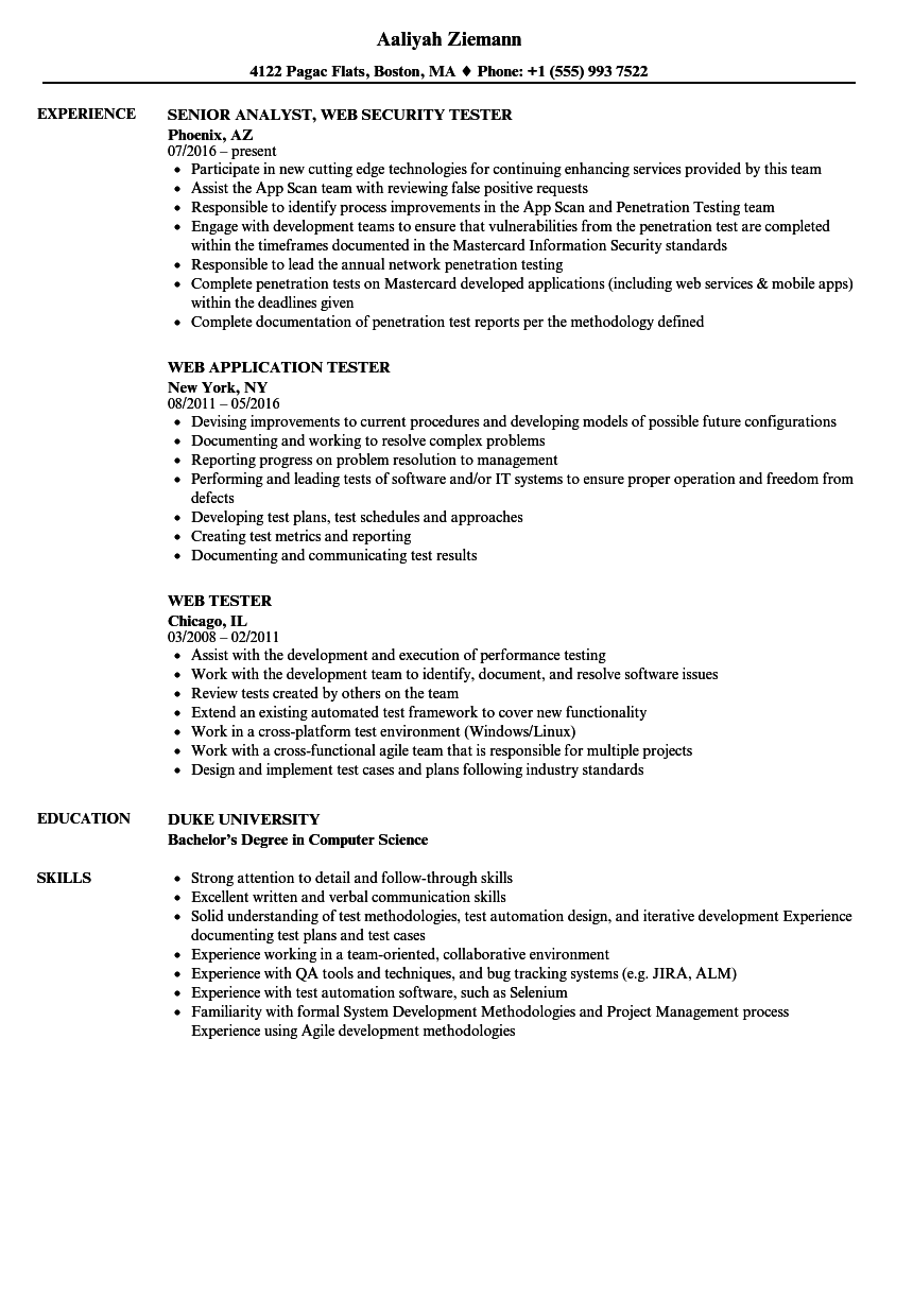Web Tester Resume Samples | Velvet Jobs