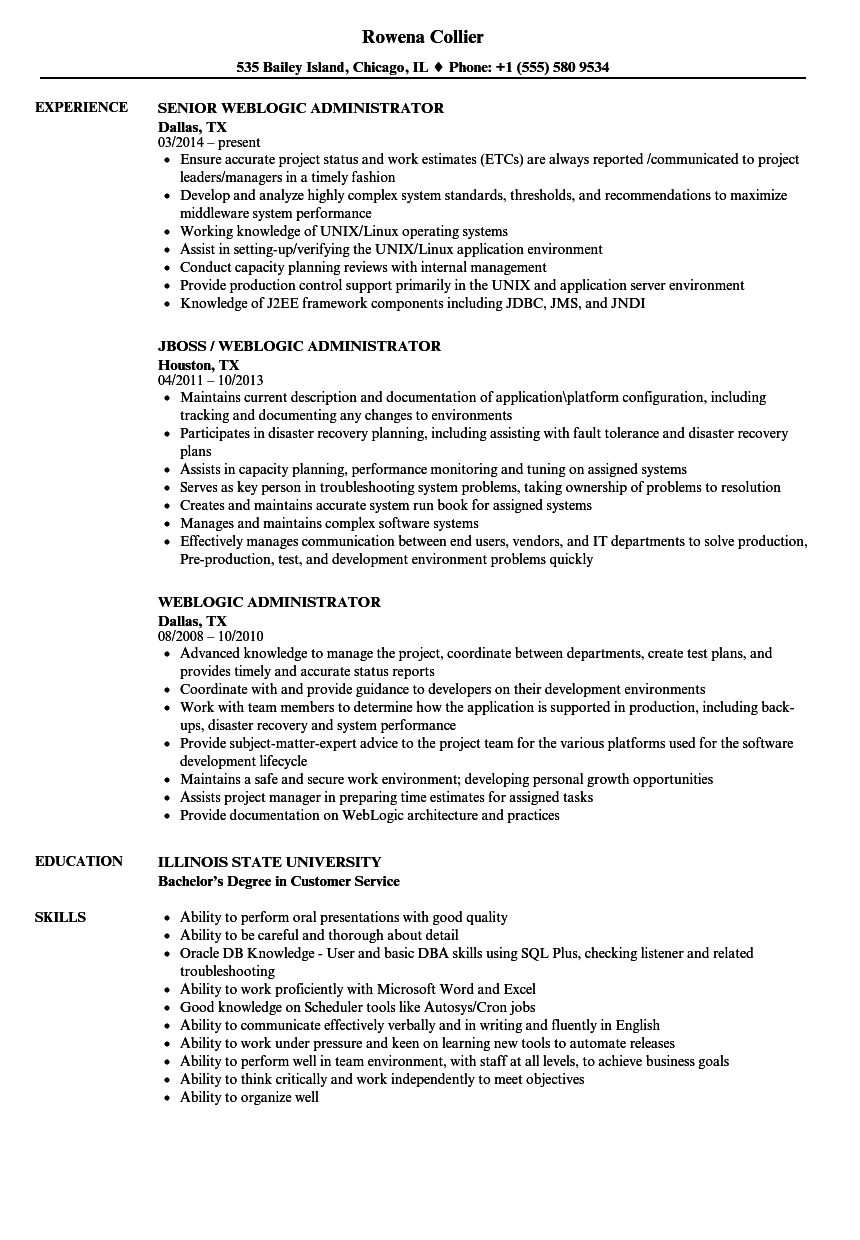 Weblogic Administrator Resume Samples Velvet Jobs