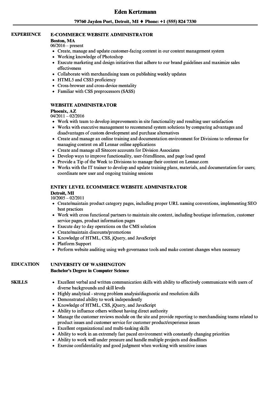 website administrator resume samples