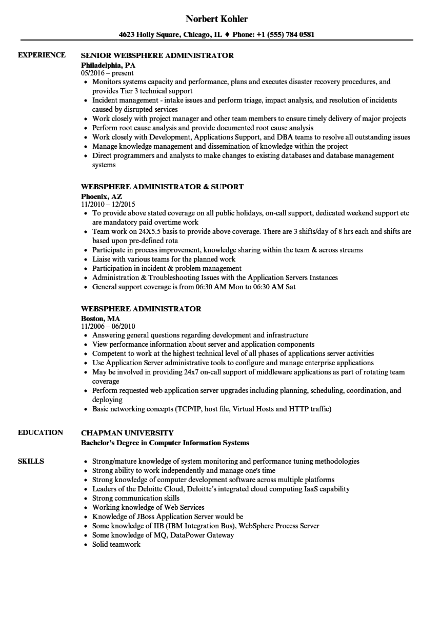 websphere administrator resume samples