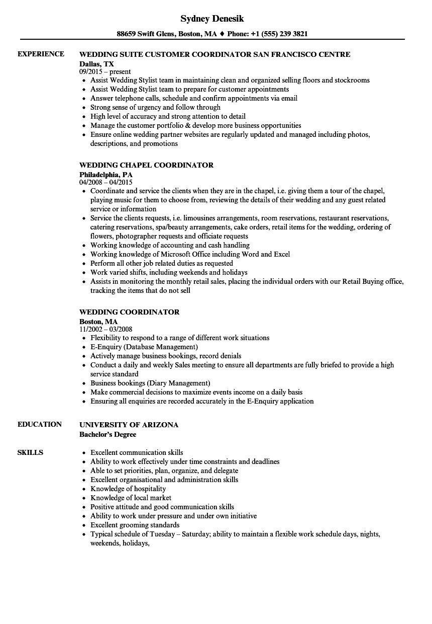 Wedding Coordinator Resume Sample As Image File