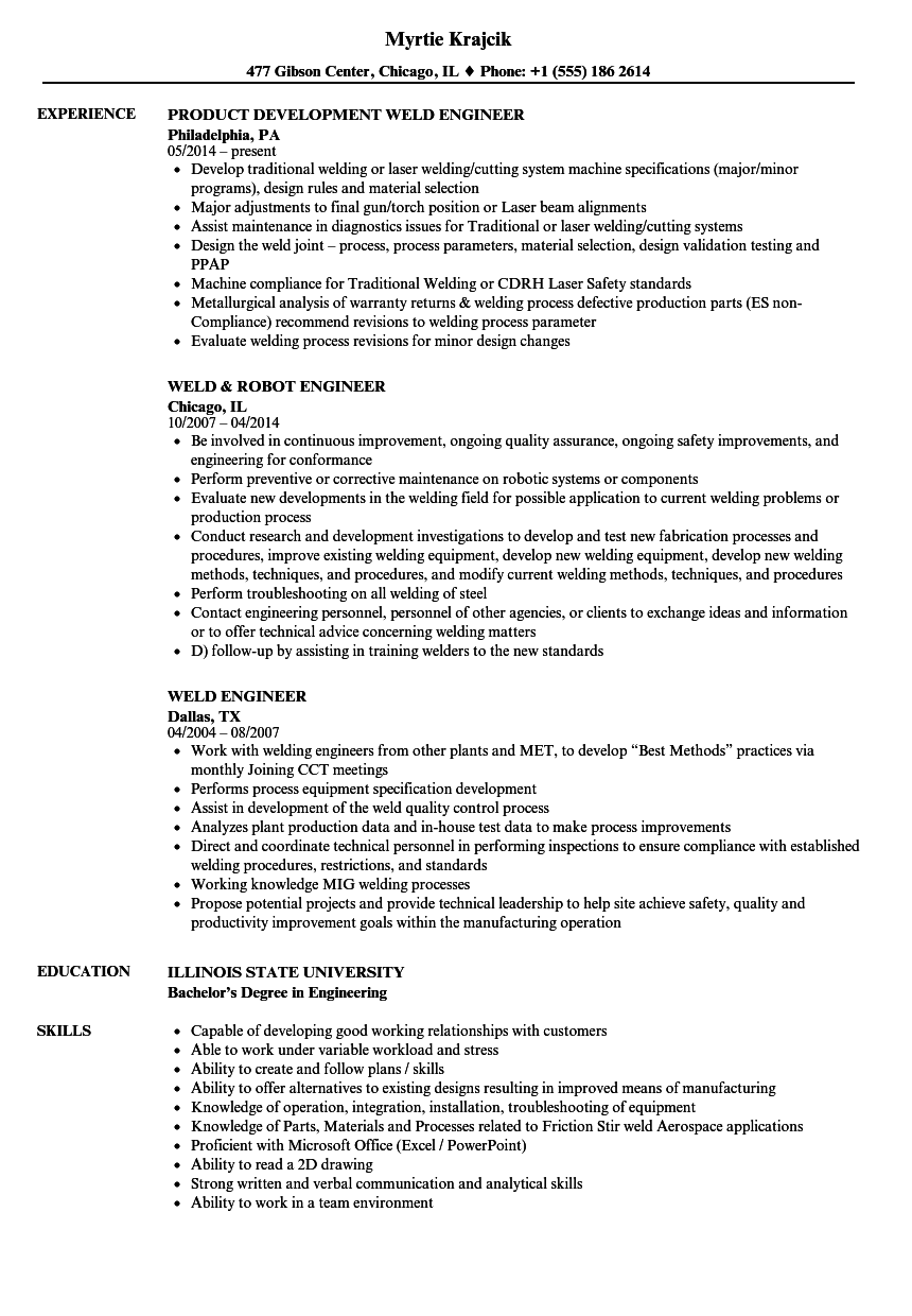 welding engineer resumes - Ideal.vistalist.co