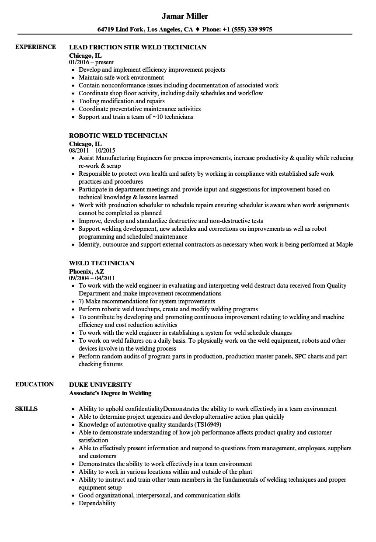 weld technician resume samples velvet jobs