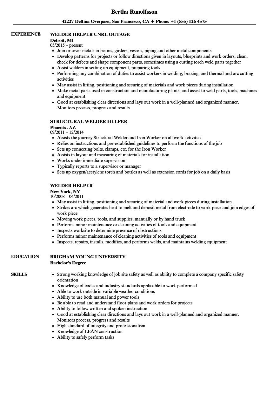 welder helper resume samples  velvet jobs