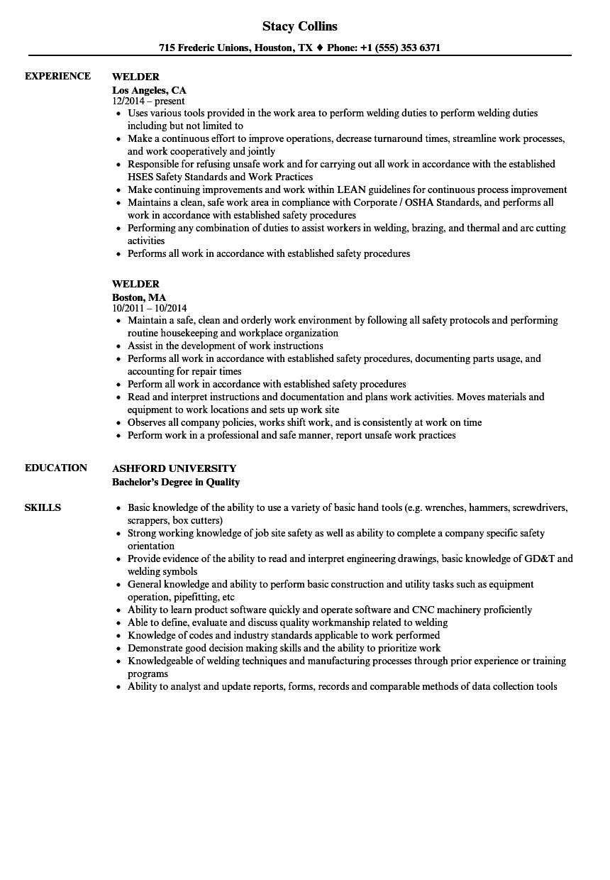 Velvet Jobs  Sample Welder Resume