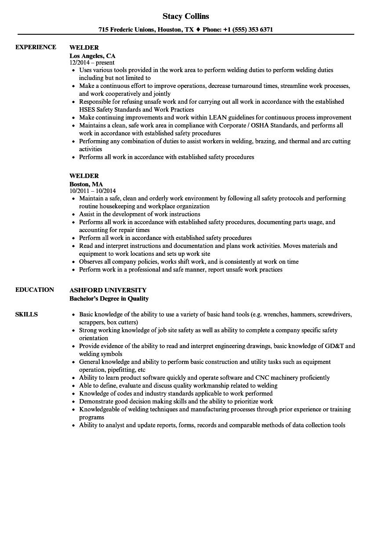 Resume For Welder Job