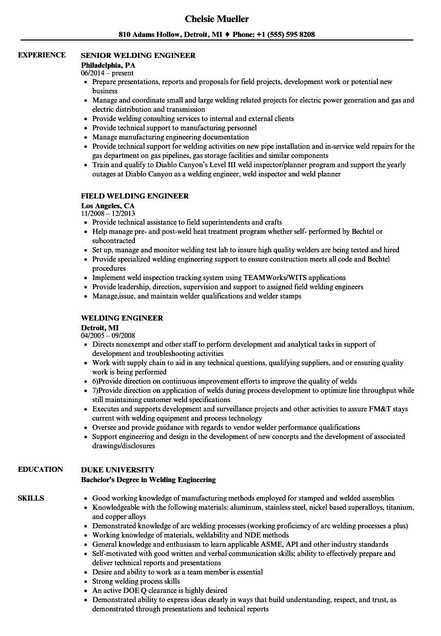 Welding Engineer Resume Samples | Velvet Jobs