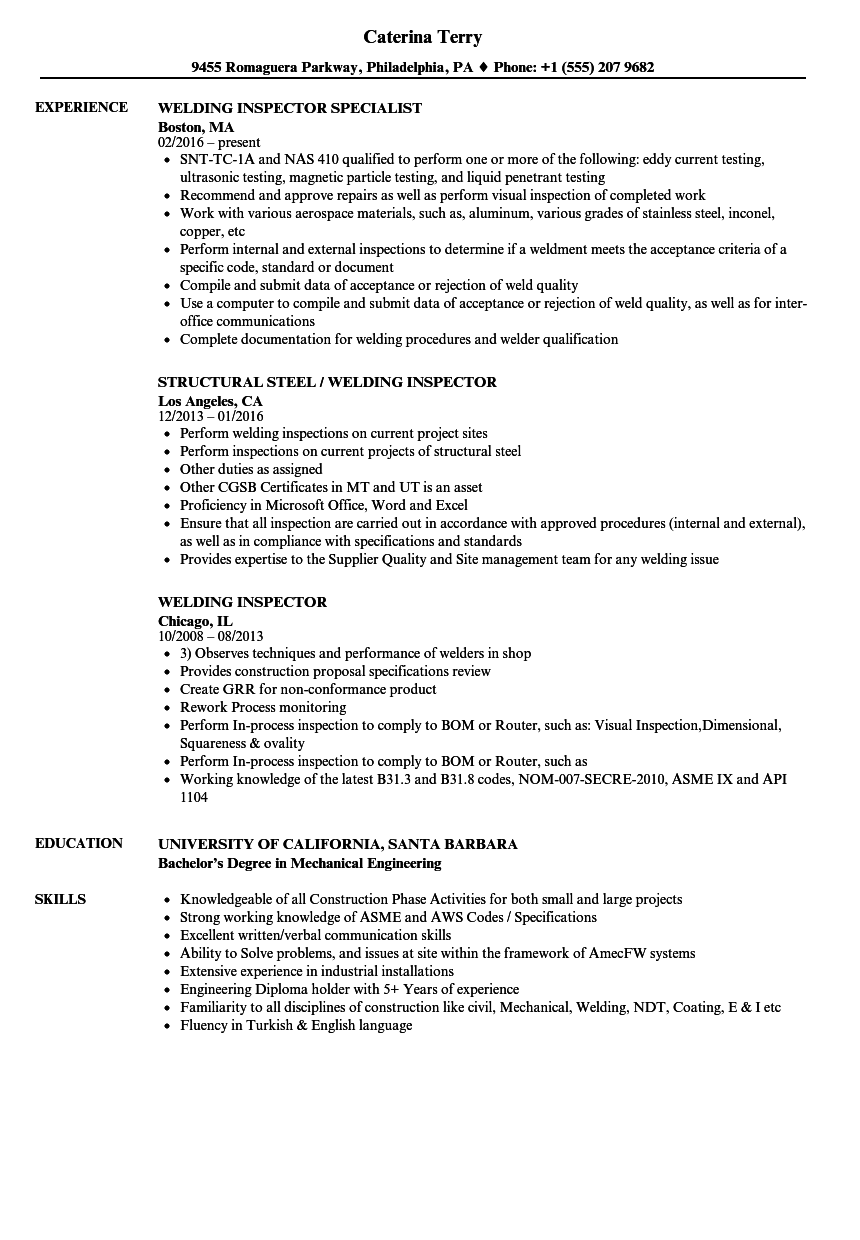 welding inspector resume samples