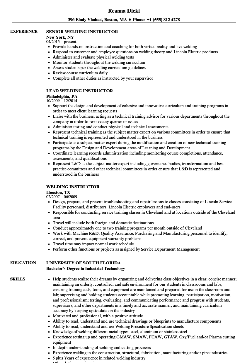 welding instructor resume samples