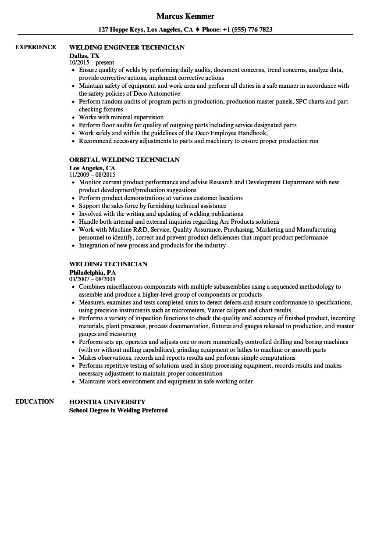 Sample Resume For Composite Technician