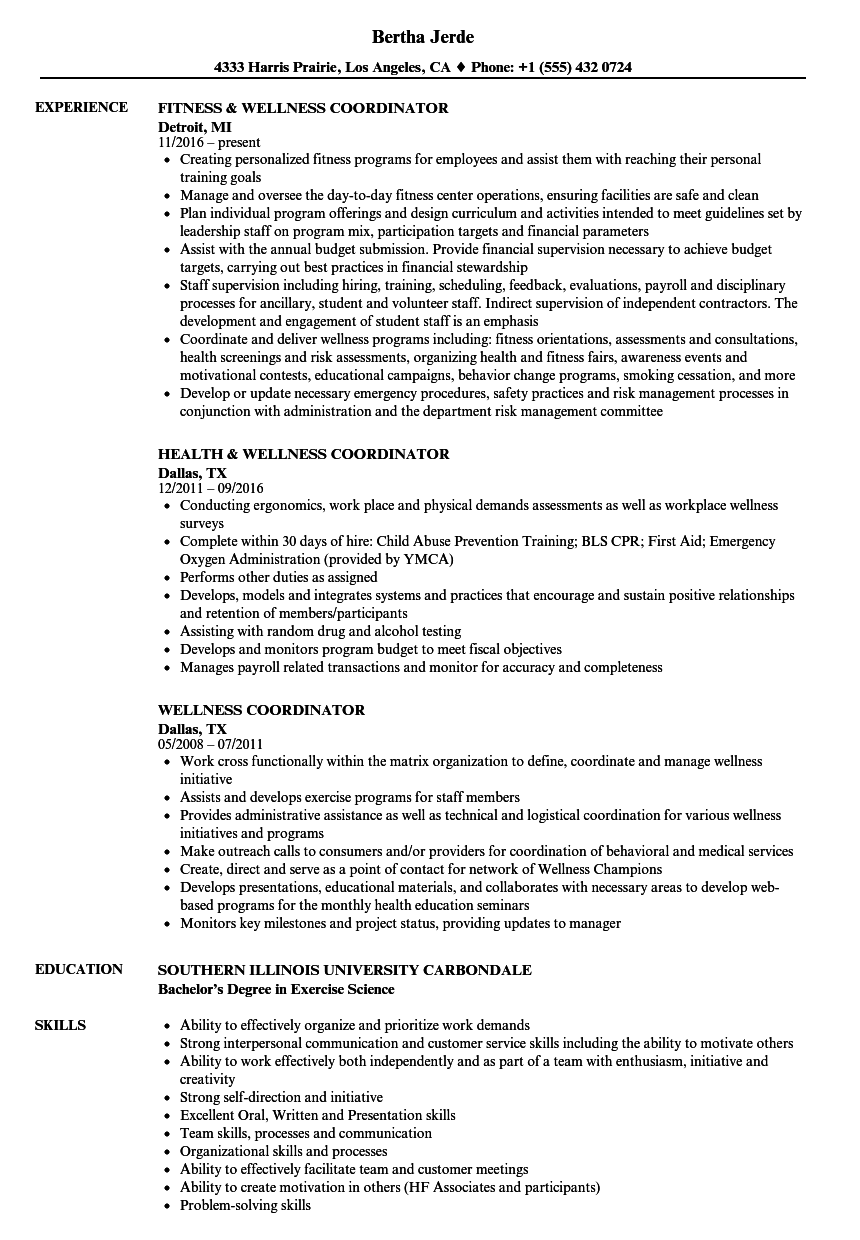 download wellness coordinator resume sample as image file - Exercise Science Resume Template