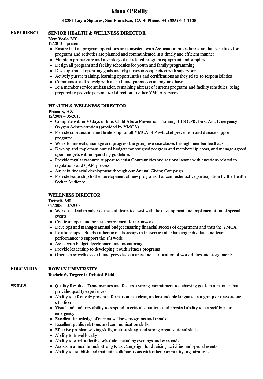wellness director resume samples velvet jobs