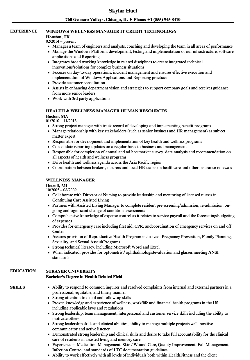 wellness manager resume samples