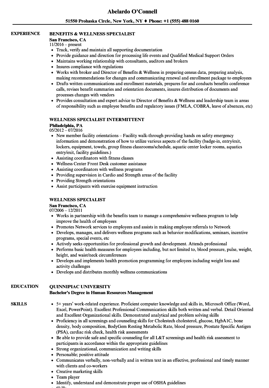 wellness specialist resume samples