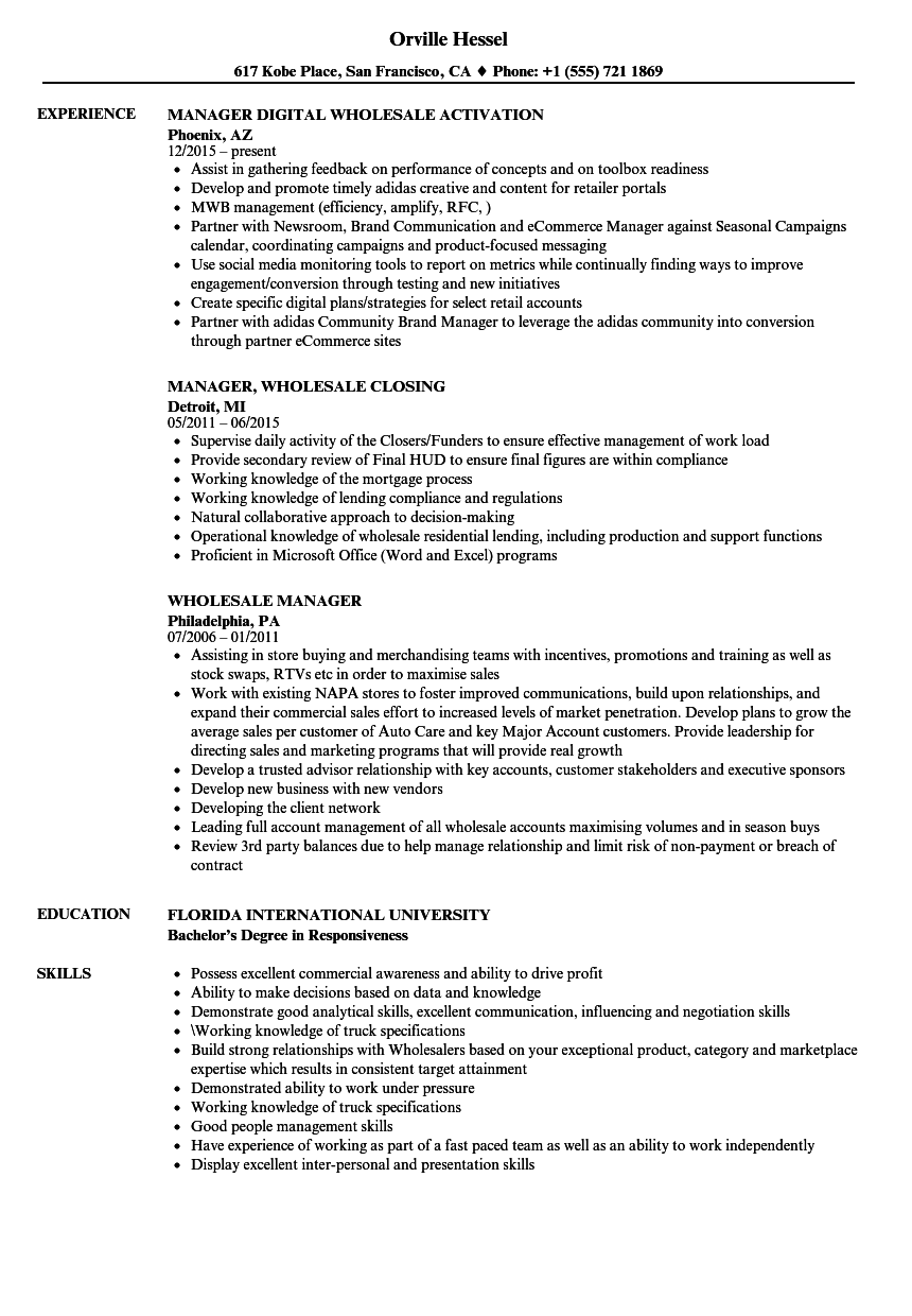 wholesale manager resume samples