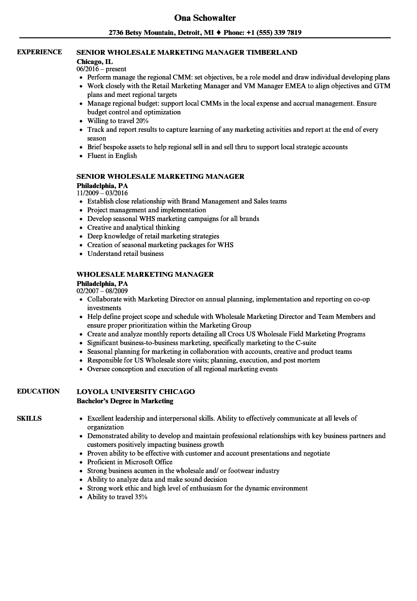 Wholesale Marketing Manager Resume Samples | Velvet Jobs