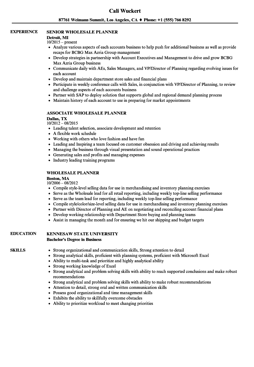 Wholesale Planner Resume Samples Velvet Jobs