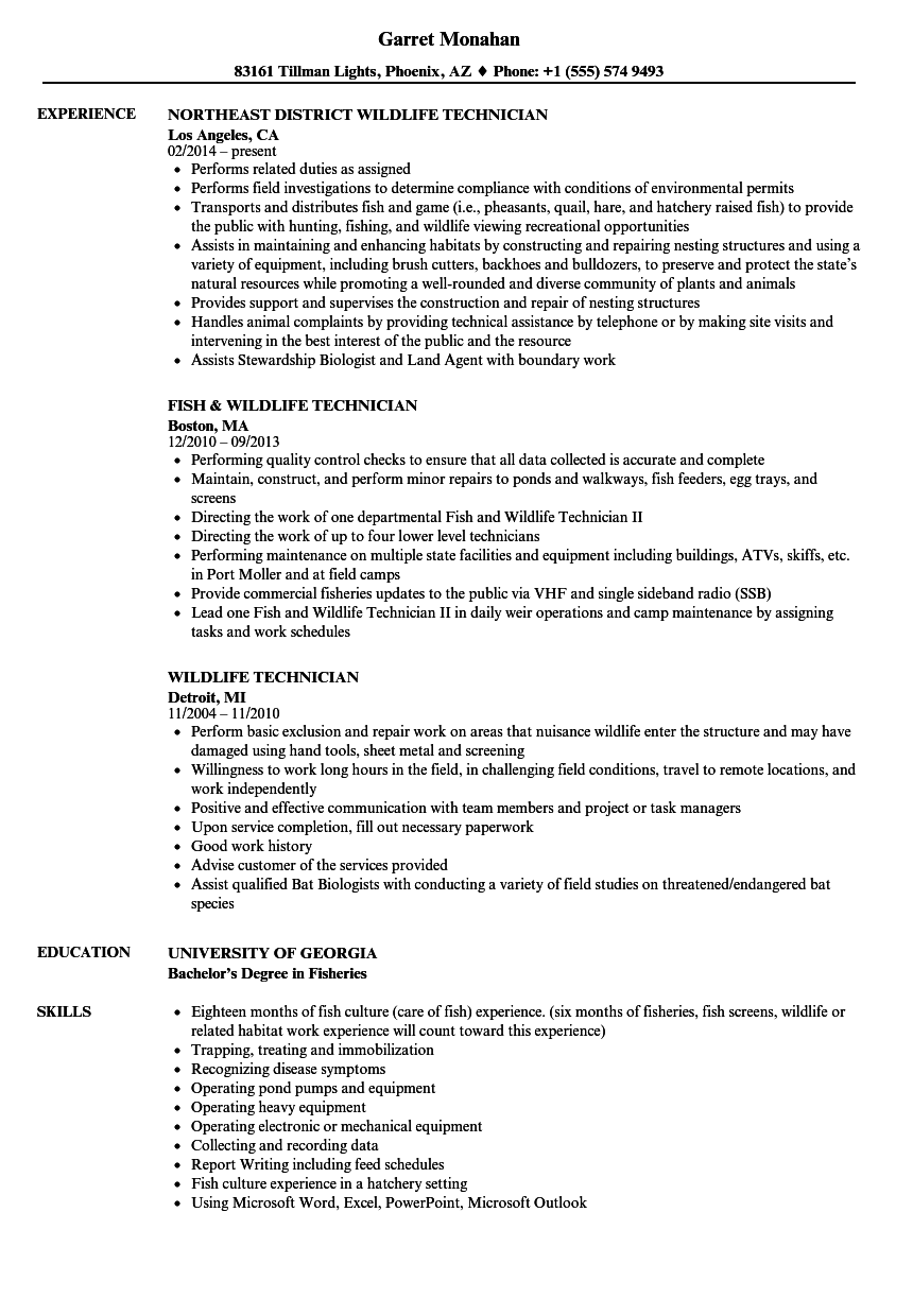 wildlife technician resume samples