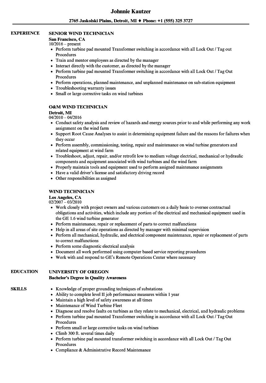 Wind Technician Resume Samples | Velvet Jobs