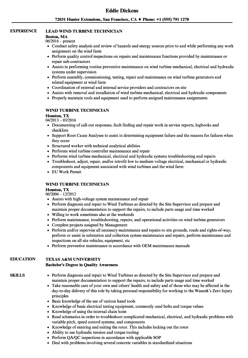 Wind Turbine Technician Resume Samples | Velvet Jobs