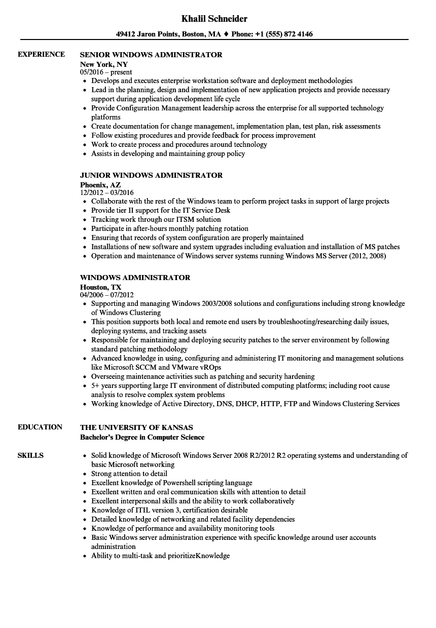 windows administrator resume samples