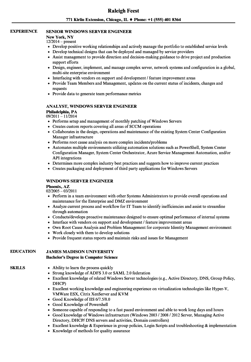 Windows Server Engineer Resume Samples | Velvet Jobs