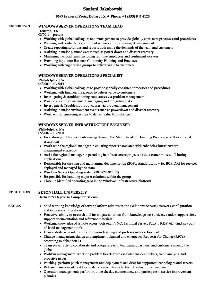 Windows Server Resume Samples | Velvet Jobs