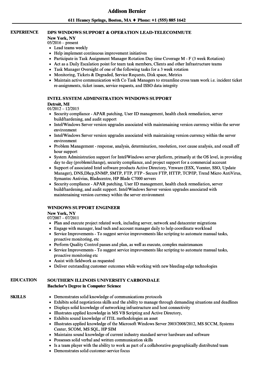 windows support resume samples