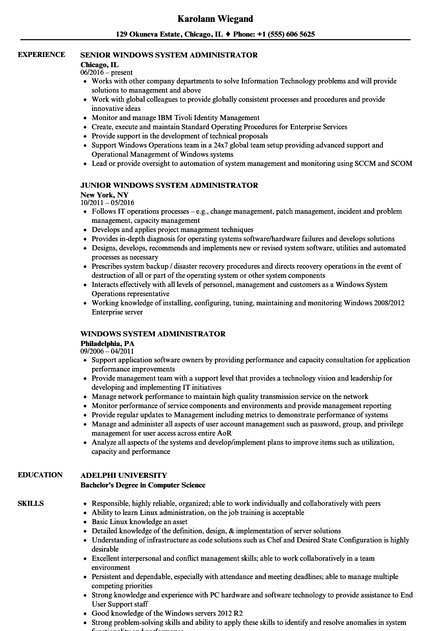 Windows System Administrator Resume Samples Velvet Jobs