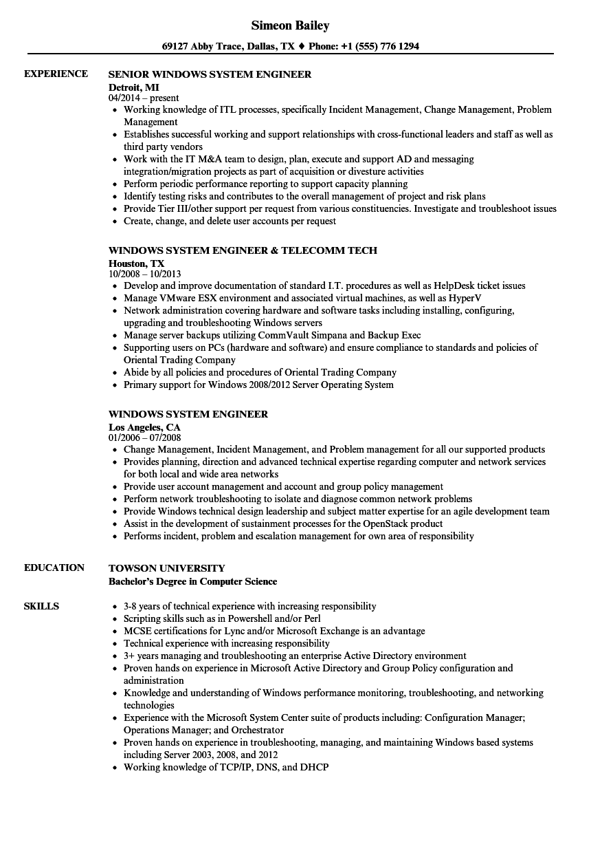 windows system engineer resume samples velvet jobs