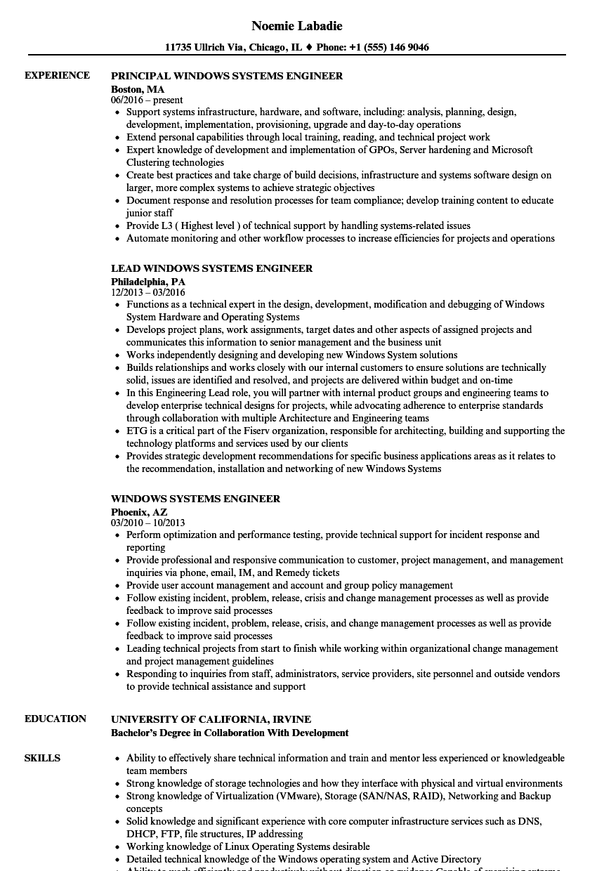 Windows Systems Engineer Resume Samples | Velvet Jobs